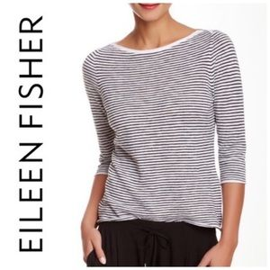 Eileen Fisher Striped Boatneck Linen Pullover S